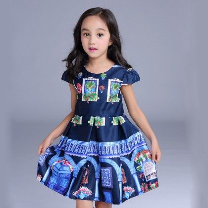 Pretty In Prints Blue Party Dress - Mauve Collection