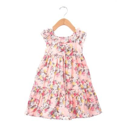 Light Pink Floral Print Frock With Bow - De Berry