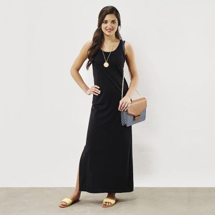 Black Essential Jersey Maxi - The Label Life