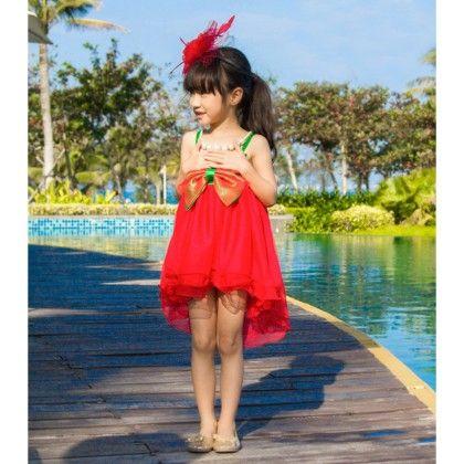 Designer Party Wear Dress - Red - Love Baby