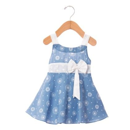 Denim Look Dress With Bow - Blue - O'Carina