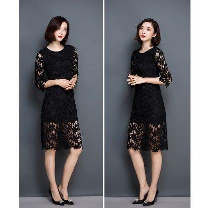 Zippers Half Lace Flowers Bodycon Midi Dress - Black - STUPA FASHION