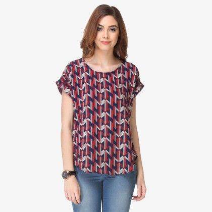 Multi Colored Crepe Printed Top - Varanga - 325715