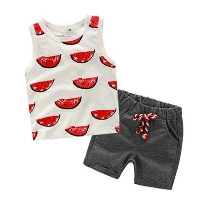 Cute Watermelon Print T Shirt & Shorts Set - Mauve Collection