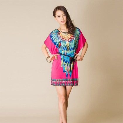O-neck Short Sleeve Women Dress Or Top - Blue - Style O Style