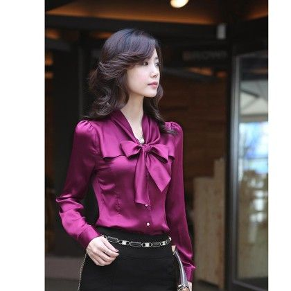 Bow Style Purple Color Formal & Casual Shirt - STUPA FASHION