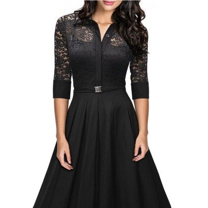 American Perspective Deep V Lace Stitching Slim Dress - Black - STUPA FASHION