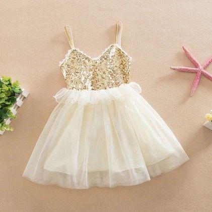 Designer Party Wear Dress - Beige - Love Baby