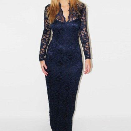Lace Crochet Long Prom Gown - STUPA FASHION - 340406