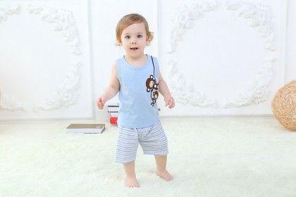 Cute Blue Monkey Print Top And Striped Shorts Set - Mimiwinga