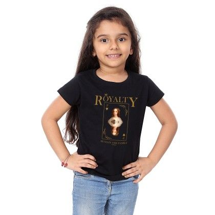 Girl's Royalty Print Black T-shirt - BonOrganik
