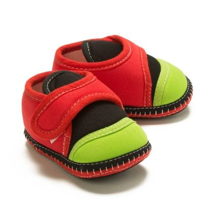 Baby Booties In Red And Green - Bubbles