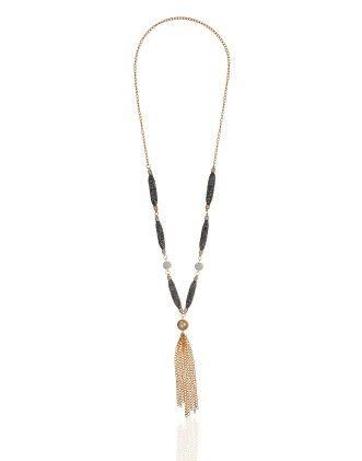 Black & Gold String Necklace - Dressvilla