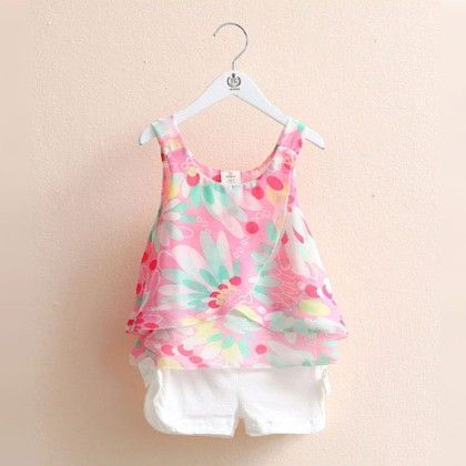 Cute Pink Chiffon Shirt With Shorts Set - Mauve Collection
