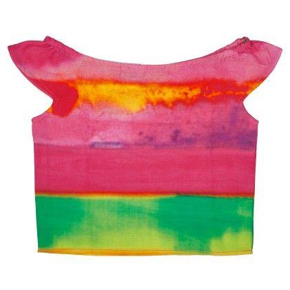 Multi Color Superfluity Frilly Sleeve Crop Top - Masaba For Magic Fairy