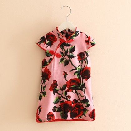 Beautiful Rose Printed Short Tunic Dress - Mauve Collection
