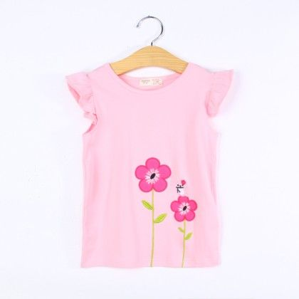 Cute Pink Floral Ruffle Top - H