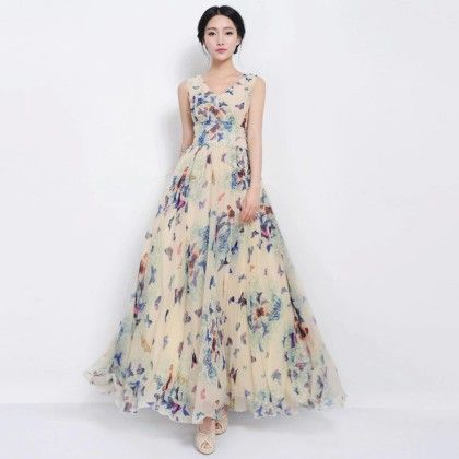Summer Maxi Butterfly Print Long Dress Woman - White - Style O Style