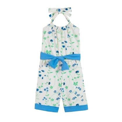 Blue Floral Print Jumpsuit With Belt - Chic Bambino