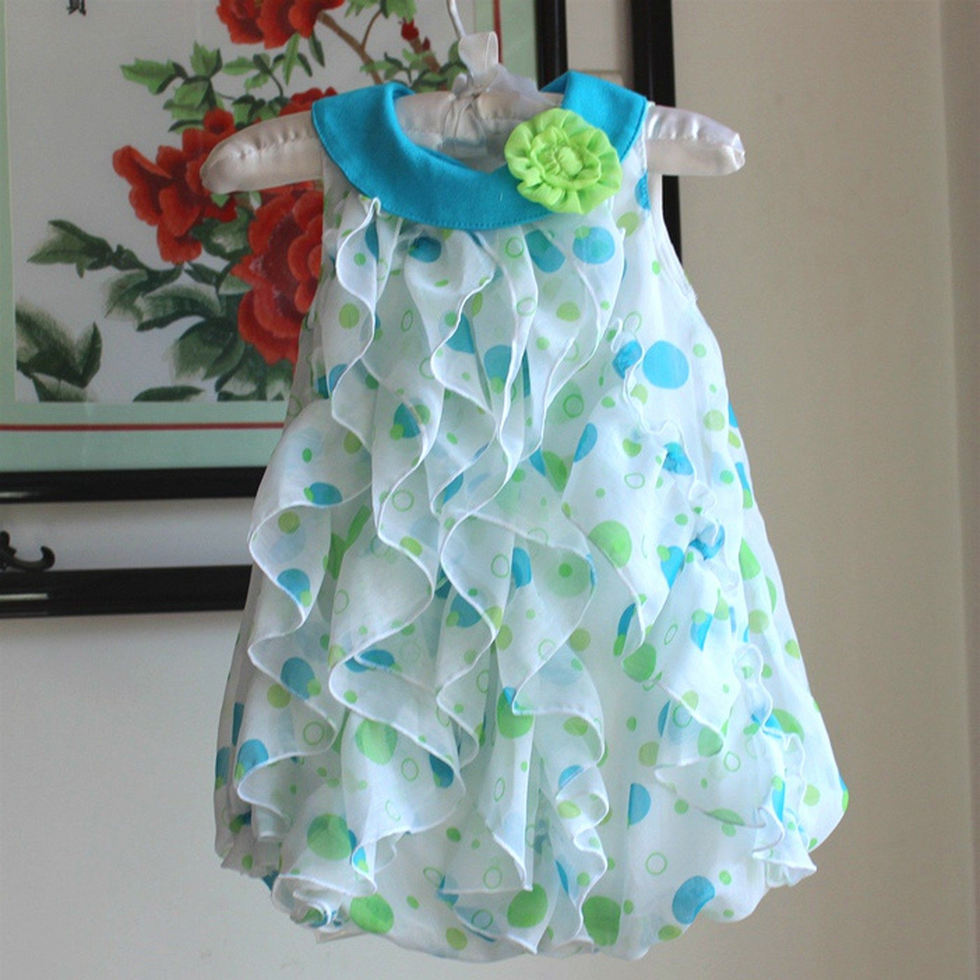 White & Sky Blue Floral Applique Dress - Lil Mantra