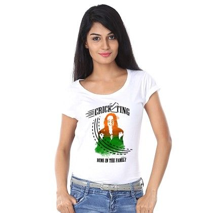 Women Cricketing Print White T-shirt - BonOrganik