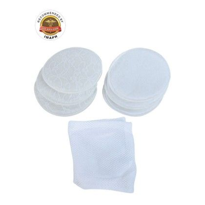 Washable Maternity Nursing Breast Pads (6 Pcs) White - Mee Mee