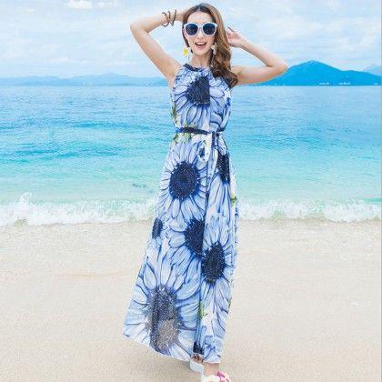 Halter - Neck Sunflower Summer Dress - Dell's World
