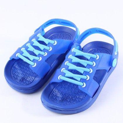 Blue Lace Up Detail Clogs - Zheng Shoes