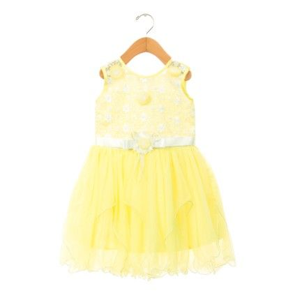 Yellow Beautiful Bow Applique Dress - ChipChop
