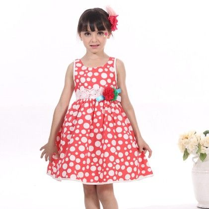 Red Polka Dotted Dress - Gold Bean