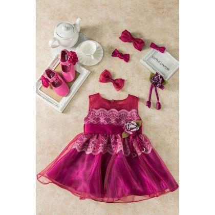 Wine Lace Yoke Dress - Little Coogie