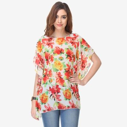 Multi Colored Chiffon Printed Top - Varanga - 325739