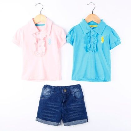 Girls Pink And Blue Ruffle Top With Shorts Set - Pink Whale