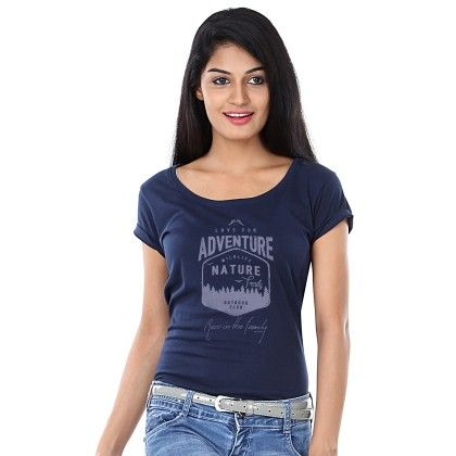 Women Love For Adventure Print Navy T-shirt - BonOrganik