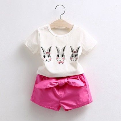 Cute Rabbit Print Top & Shorts Set - Mauve Collection