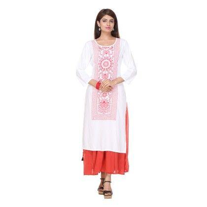 White & Red Color Printed Stitched Kurti - Varanga