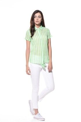 Summer-perfect Check Shirt With Back Bow - Klaede