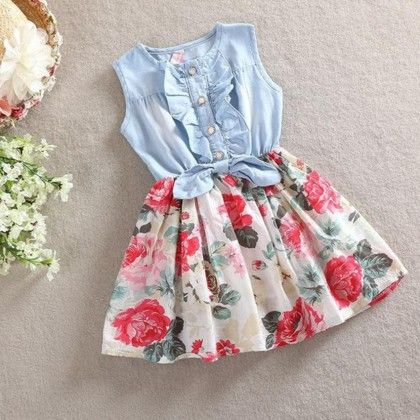 Flower Print Sleeveless Dress With Bow - White - Love Baby
