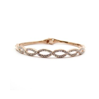 Rose Gold Plated Bracelet With White Bright Stones - Eternz
