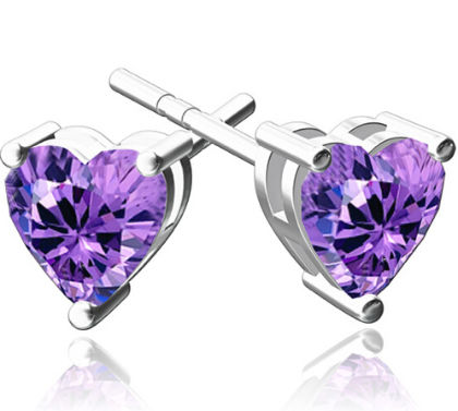 The Heart Catcher Stud Earring - The Purple Present