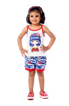 Red Girl Printed Vest & Short Sets - Toys