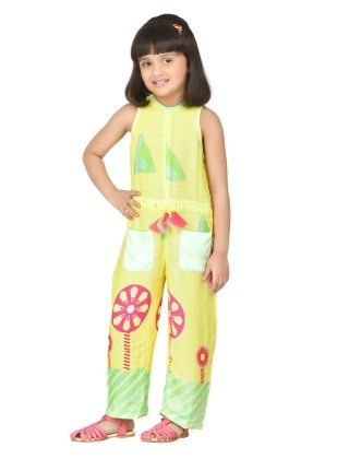 Yellow Pretty Jumpsuit With Floral Neckline - Masaba For Magic Fairy