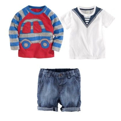 Boy's 3 Piece Red And White Printed T-shirts And Denim Shorts - Dapper Dudes