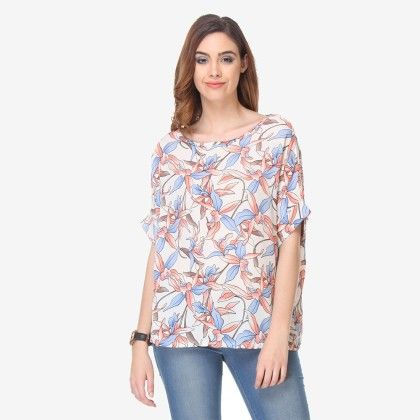 Multi Colored Crepe Printed Top - Varanga - 325728