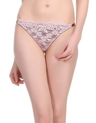 Clovia Sexy Lacy Thong In Light Pink