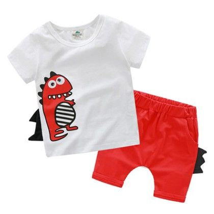 Cute Dino Print Set For Kids - Red - Mauve Collection