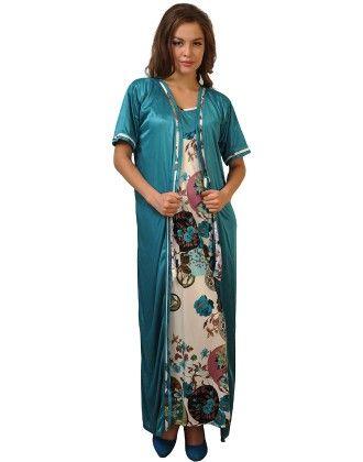2 Pcs Printed Satin Nightwear In Turquoise - Robe & Nightie - Clovia