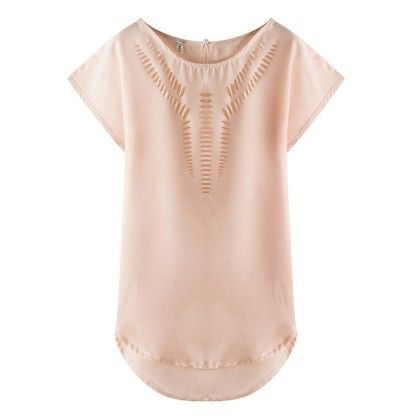 Pink Colour Cut-work Top - Dell's World