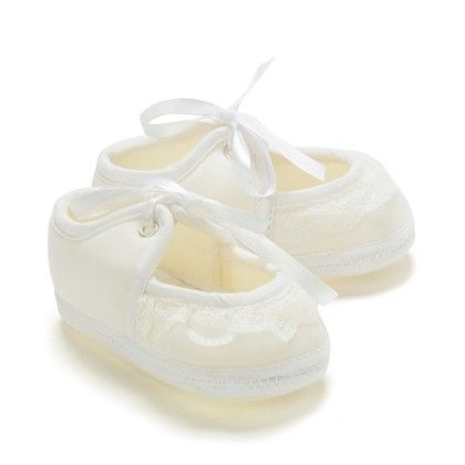 Frill And Lace Tie Up Baby Booties - White - Bubbles