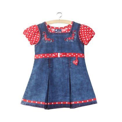 Red Polka Dot Printed Denim Dress - La Panache